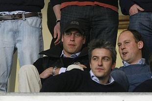 Prince William (left) in the stands during Blackpool vs Wolverhampton Wanderers at Bloomfield Road for the Barclays Premier League.