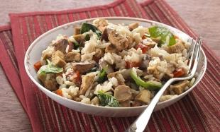 TRY VEGGIE This tofu and chestnut risotto is a great dish to sample
