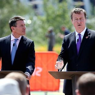Prime Minster David Cameron with Locog chairman Lord Coe during a visit to the Olympic Park at Stratford