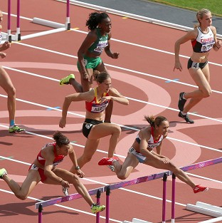 Jessica Ennis set a lifetime best in the heptathlon hurdles