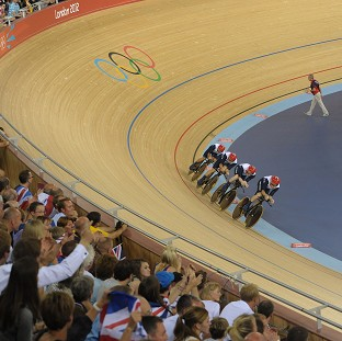 Ed Clancy, Geraint Thomas, Steven Burke and Peter Kennaugh roared to victory
