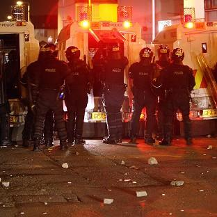 Blackpool Citizen: Police come under attack at Carlisle Circus in north Belfast in a third night of disturbances in the city