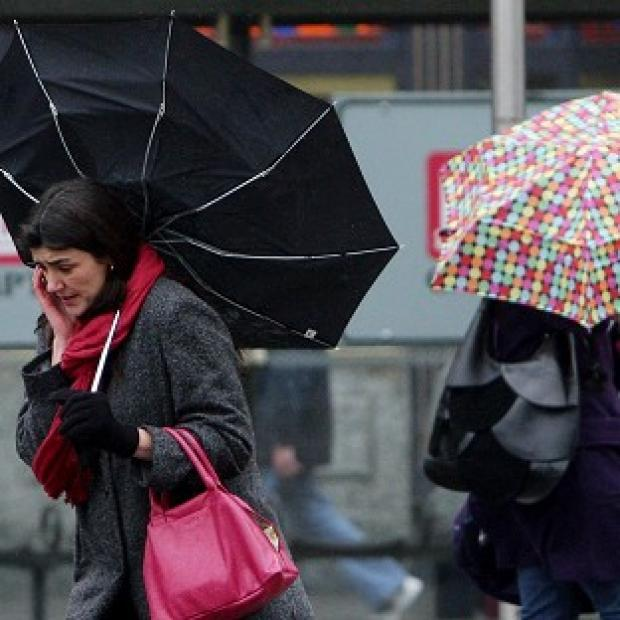 Up to 60mm of rain will fall locally in parts of Britain before Monday night, according to forecasters