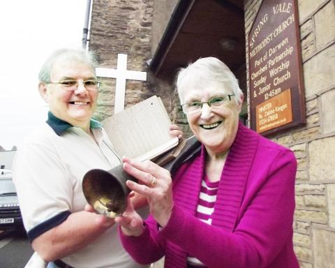 MEMORABILIA Chris Allen and Alice Moss with old records from Spring Vale Methodist Church and the old Sunday school bell.