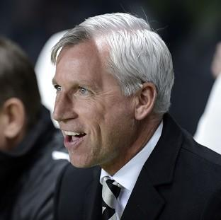 Newcastle manager Alan Pardew reacts with delight during the Europa League match against Bordeaux