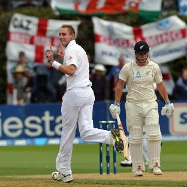 Blackpool Citizen: Stuart Broad, left, celebrates taking the wicket of Hamish Rutherford during day two of the second Test