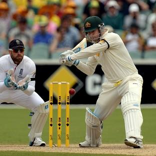 Blackpool Citizen: Michael Clarke bats during day two of the Second Test Match at the Adelaide Oval
