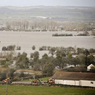 Blackpool Citizen: Flood water covers part of the Somerset Levels near Burrowbridge