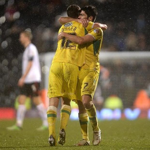 Blackpool Citizen: Shaun Miller, left, and Ryan Flynn celebrate Sheffield United's victory at Craven Cottage