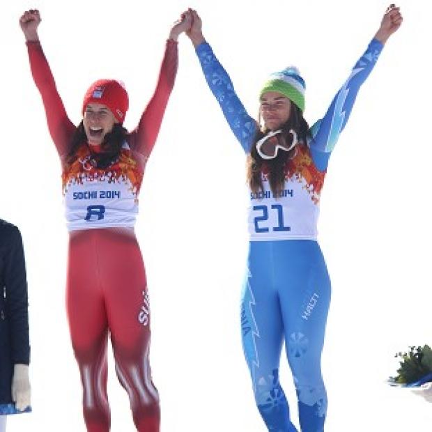 Blackpool Citizen: Dominique Gisin, left, and Tina Maze, right both claimed gold in the women's downhill