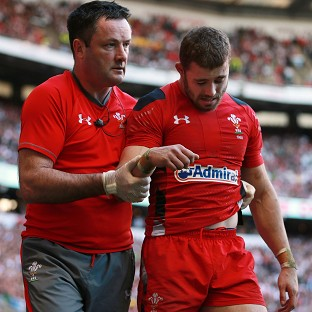 Leigh Halfpenny, right, dislocated his shoulder at Twickenham