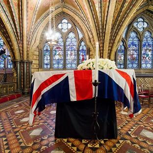 Blackpool Citizen: Baroness Thatcher's coffin rested in the Crypt Chapel of St Mary Undercroft before her funeral.