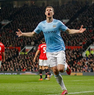 Edin Dzeko scored a brace in Manchester City's latest win at Old Trafford