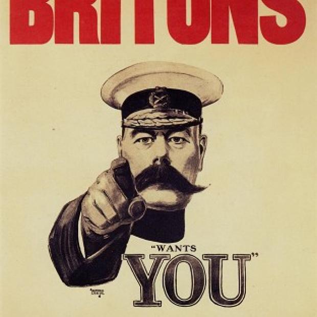 "Blackpool Citizen: Pals Battalions were inspired by the famously moustachioed Lord Kitchener's ""Your Country Needs You"" campaign"