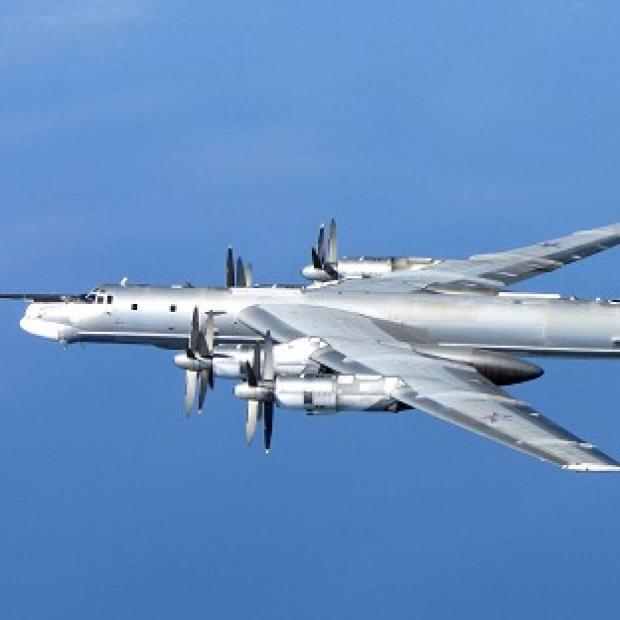 Blackpool Citizen: A Russian Tu-95 Bear H photographed by an RAF Typhoon from 6 Squadron at RAF Leuchars in Scotland on Wednesday (MoD)