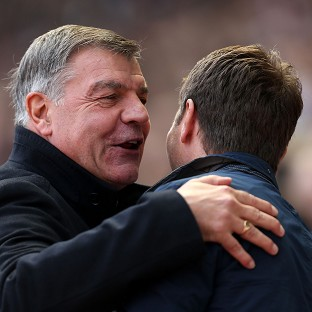 Sam Allardyce, left, was delighted with West Ham's performance against Tottenham
