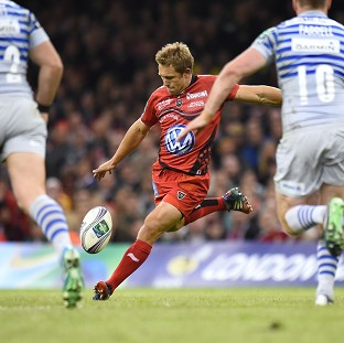 Jonny Wilkinson successfully kicks a drop goal for Toulon during the Heineken Cup Final at the Millennium Stadium, Cardiff