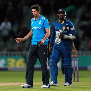 Alastair Cook was far from impressed with Angelo Mathews at the end of the One Day International at Edgbaston