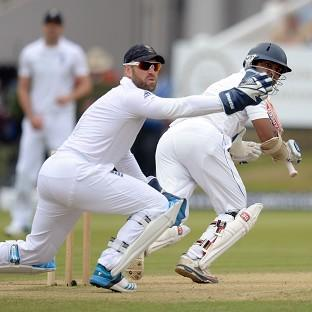 Kumar Sangakkara, right, is in pursuit of his first Test century at Lord's