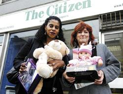 THANK YOU:  Women's Aid service manager Marilyn Haye and finance manager Patt Trow at the Citizen with some of the gifts